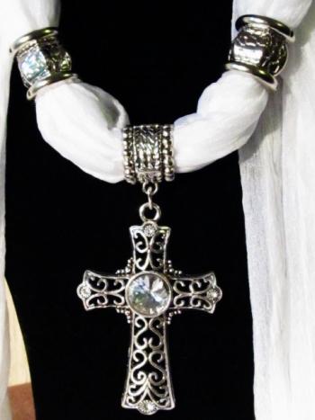 IlluminEssence Celtic cross on white scarf